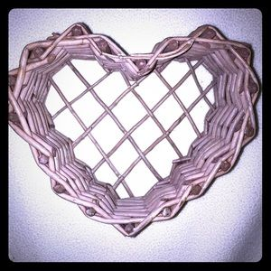 🆕 Pink Heart Wicker Basket